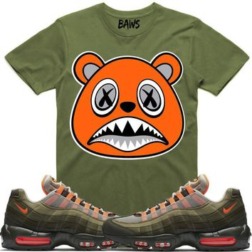 ORANGE BAWS Sneaker Tees Shirts - Air Max 95 Total Orange Olive OG