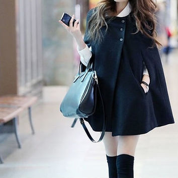 women cape Wool Cape Cashmere coat large size cloth/Hooded sweater winter coat cloak cape Dress/jacket Black/Brown