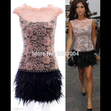Sexy Lace Bodice Feather Short Evening Celebrity Cocktail Dress 2016