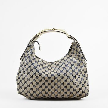 "Gucci Brown Navy ""Original GG"" Canvas & Leather Horsebit Handle Hobo Bag"