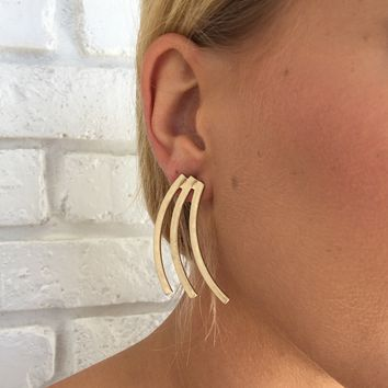 Cascading Matte Gold Earrings