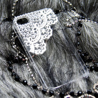 Apple iPod Touch iTouch 4G 4th Generation 4 G / 5 5th Gen 5G Case: Bling Lace Pearl Rhinestone Clear Crystal Hard Skin Case Back Cover (CE)