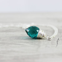 Teal Blue Necklace, Sterling Silver Necklace, Wire Wrap, Turquoise Green Gemstone, Aqua Blue Necklace, Pendant Necklace, Quartz Necklace