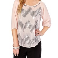 Sheer Sequin Chevron Top