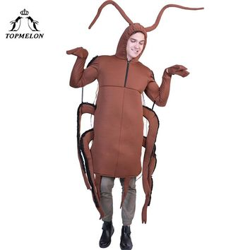 TOPMELON Cockroach Cosplay One Piece Jumpsuit Adult Costumes Brown Insect Roach Halloween Costume