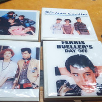 Tile Coasters--Pretty in Pink, Breakfast Club, Sixteen Candles, Ferris Bueller's Day Off  OOPSIE SALE Seconds Sale