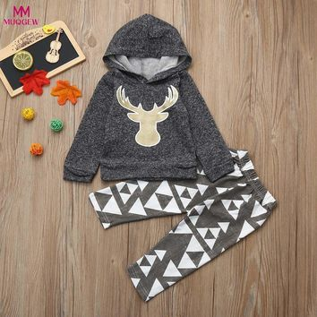 MUQGEW New Baby Deer Hooded Tops+Pants 2pcs Outfits Newborn Baby Boys Girls Hooded Coat Tops+Pants Gray Outfits Clothing Sets