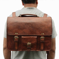 Leather Backpack / Messenger Bag / Satchel / Briefcase - Vintage Retro Looking