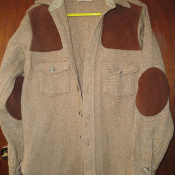Mens Vintage Cablelas Wool Blend Hunting Field Shirt Light Jacket M Medium Suede Elbow Shoulder Patches