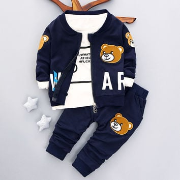 Brand new baby boys clothing set Autumn 2017 fashion style cotton coat with pants baby clothes A082