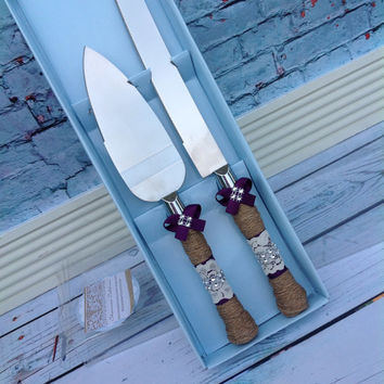 Wedding cake knife set / burlap knife set / cake cutting set / rustic wedding / vintage lace wedding