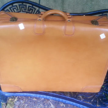 "Vintage Camel Tan Leather 24"" Double Handled Suitcase"