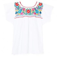 Multi & White Floral Mexican Blouse - MEXICAN BAZAAR Multi & White Floral Mexican Blouse