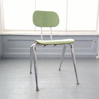 Vintage, Desk Chair, Chair, Adult, Teen, School House Chair, Green, Chrome, Furniture, MidCentury, Industrial, RhymeswithDaughter
