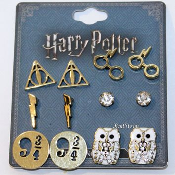 Licensed cool Harry Potter Deathly Hallows 6 Pair Post Insertion Earrings Owl 9 3/4 Glasses