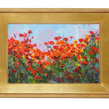 Poppy Abundance  - Miniature Treasure, original palette knife oil painting, 6x4inch