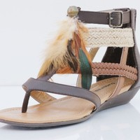 Tan Faux Leather Feather Gladiator Color Block Sandals Gallon