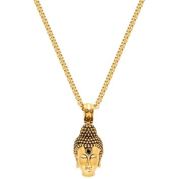 Men's Necklace with Gold Buddha Head