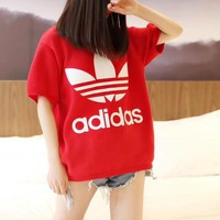 """Adidas"" Women Casual Fashion Letter Print Turtleneck Short Sleeve Knit Sweater T-shirt Tops"