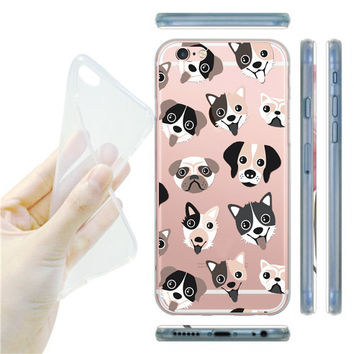 Cute Dog Faces Soft Case Cover for iPhone 5 5s / 6 6s