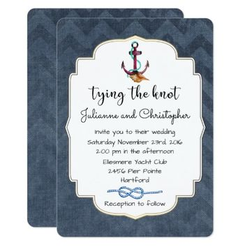 Tying The Knot Anchor with Nautical Theme Wedding Card