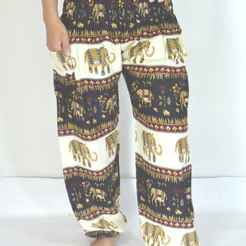 Thai Yoga Pants Black cream color/Harem Pants/Boho/Elephant Print design/Drawstring elastic waist/Comfortable wear/Trousers/Handmade/Baggy.
