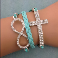 Blinged Infinity & Cross Bracelet