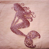 Rose Gold Glitter, Iron on Mermaid, DIY Craft Project, Diy shirt, tote, Applique, Glitter HTV