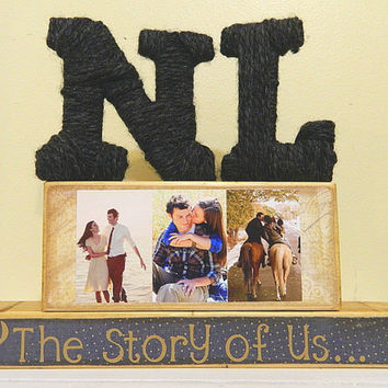 Personalized  wooden blocks with photo display for by FayesAttic11
