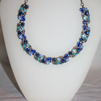 Vintage Blue Necklace, Collar Choker Necklace, Rhinestone Lisner Necklace Designer  1960s Jewelry