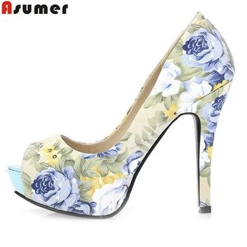 ASUMER 2017 new arrive women pumps fashion peep toe printing flower spring autumn high