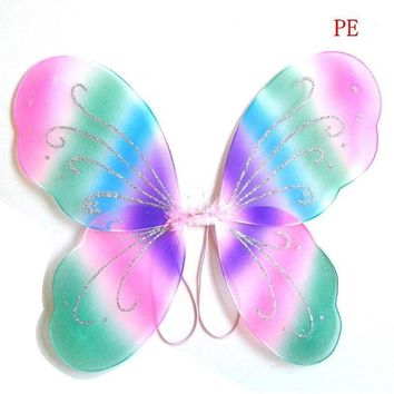DKF4S Kids Girl Princess Fairy Butterfly Wings Halloween Party Decor 13 Colors