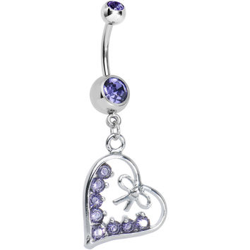 Tanzanite Purple Gem Dainty Bow in CZ Heart Dangle Belly Ring