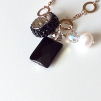 Black and Gold Necklace - Onyx, Pearl and Crystal Pendant