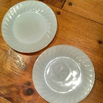 Vintage Anchor Hocking Fire King Milk Glass Dessert or Lunch Plates, White Dishes with Crimped Border