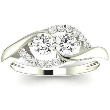 CERTIFIED | 1/2 Carat t.w. Twisting Curve 2rue Love 2 Stone Collection Round 14K White Gold Diamond Engagement Ring (G-H Color, VS2-SI1 Clarity Center Stones) (Platinum, Yellow, White, Rose)