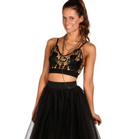 Sale-black Crochet Faux Leather Bustier Crop Top