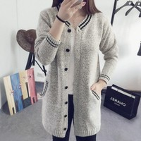 New Fashion Women Casual V-Neck Long Sleeve Knit Long Loose Cardigan Sweater
