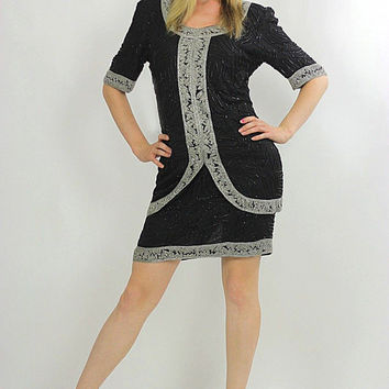 80s black sequin beaded tunic dress Art deco silver metallic Flapper
