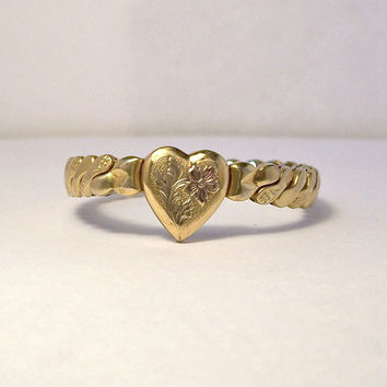 Vintage Child Size Heart Expansion Bracelet,Foster Expansion Bracelet,Valentine Bracelet,Girls Bracelet,Heart Bracelet,GF Heart,Gold Filled