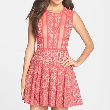Women's BCBGMAXAZRIA 'Shira' Knit Lace Fit & Flare Dress