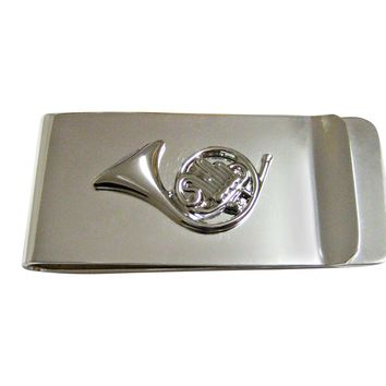 Silver Toned Musical French Horn Instrument Money Clip