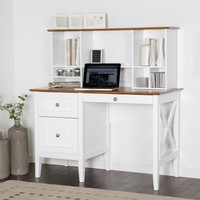 Belham Living Hampton Desk with Optional Hutch - White/Oak | www.hayneedle.com