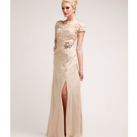 Champagne Lace & Chiffon Modest Gown