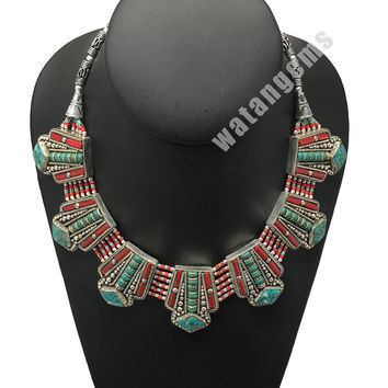 Ethnic Tribal Green Turquoise & Red Coral Inlay Boho Statement Necklace, NPN69