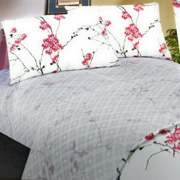 Blossoming Floral Sakura Cherry Blossoms Red White Purple Flat Sheets Set & Pillow Cases Sham Cover (FS8318)