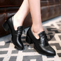 New 2015 Vintage Square Heel Lace Up Women Pumps Ladies Casual High Heels Shoes Plus Size 34-47 Women Low Heeled Oxfords