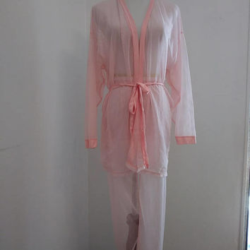 Vintage sheer see through pink pleated pajama set - small to medium