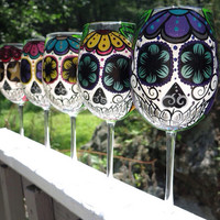 Custom order hand painted sugar skull wine glass (MADE TO ORDER)
