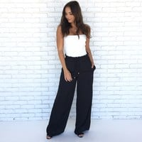 Newport Wide Leg Silk Pants in Black